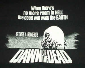 DAWN OF THE DEAD Black and White Poster Print T-Shirt