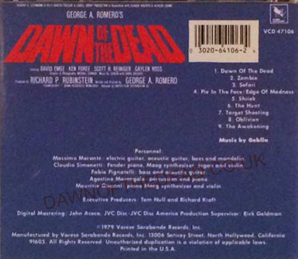 Dawn of the Dead Varese Sarabande CD VC47106