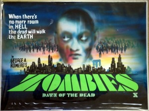 ZOMBIES DAWN OF THE DEAD BRITISH QUAD ORIGINAL TOM CHANTRELL ART