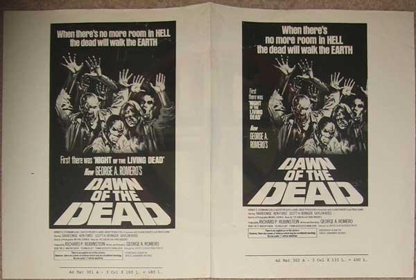 DAWN OF THE DEAD USA AD MAT PRESS SHEET VERSION A