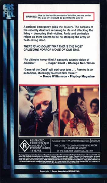 DAWN OF THE DEAD AUSTRALIAN R RATED CBS FOX VHS VIDEO