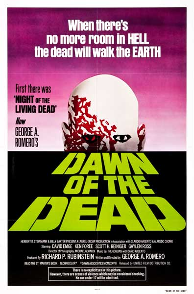 DAWN OF THE DEAD USA GREEN LOGO ADVANCE ONE SHEET POSTER