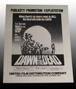 DAWN OF THE DEAD PUBLICITY EXPLOITATION PRESS SHEET