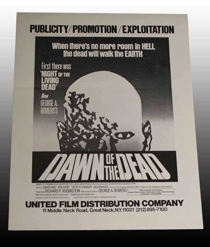 DAWN OF THE DEAD PUBLICITY EXPLOITATION PRESS SHEET