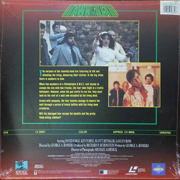 Dawn of the Dead Republic Pictures Laserdisc LV 25831