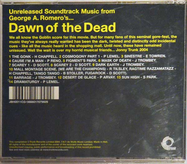 Dawn of the Dead Unreleased Soundtrack Trunk Vinyl LP
