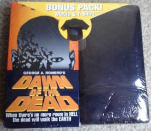 DAWN OF THE DEAD USA VIDEO TREASURES VHS AND BONUS T-SHIRT