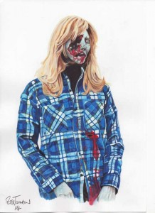 The Blonde Zombie  Jeanie Jefferies Poster Art B by Peter Johnson
