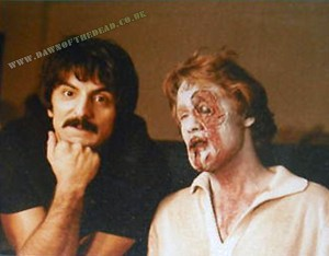 Behind the scenes photo – Tom Savini with Zombie