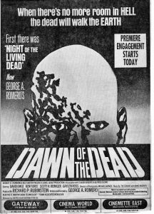 Dawn of the Dead Pittsburgh Premiere Newspaper Advert