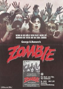Dawn of the Dead German Zombie paperback book advertising poster