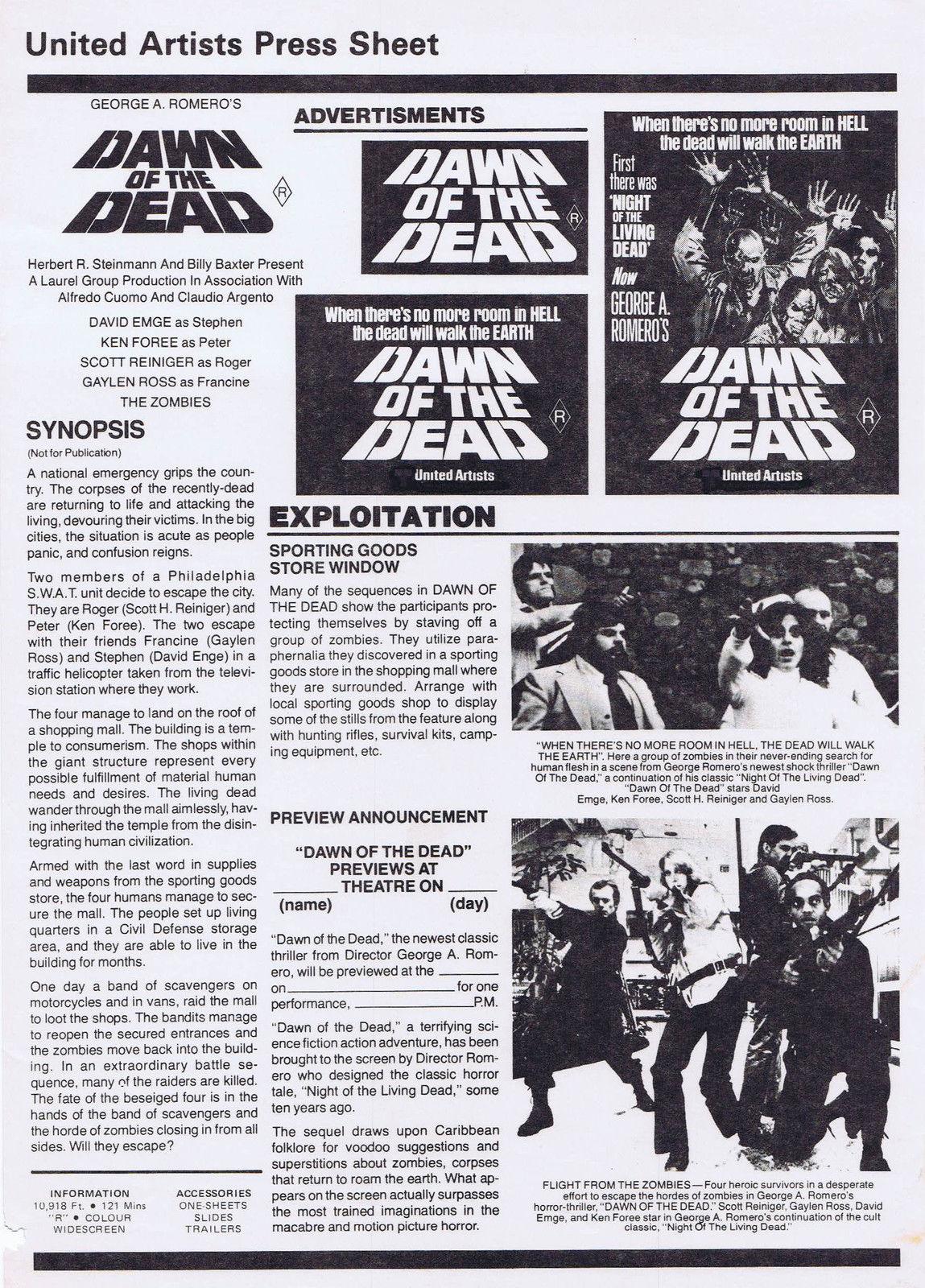 Dawn of the Dead Australian United Artists Press Information Sheet