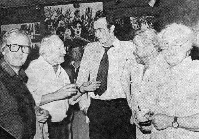 Neue Constantin Film president Bernd Eichinger flanked by visibly excited patrons of a German 'trade show' advance screening of the film in Munich, June 1979.