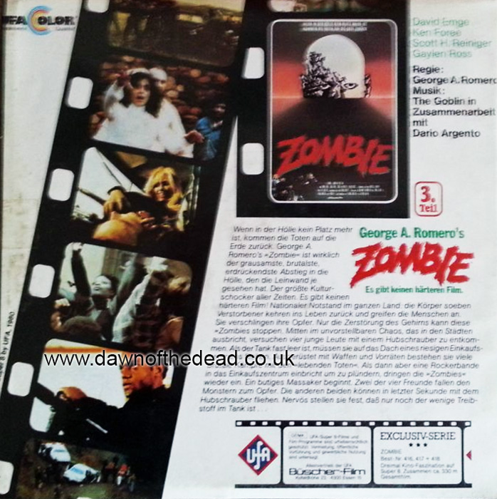 DAWN OF THE DEAD ZOMBIE UFA SUPER 8MM REELS